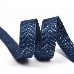 Тесьма киперная люрекс 13 мм Темно-синий с серебром