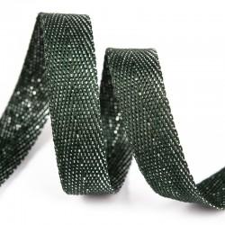 Тесьма киперная люрекс 13 мм Темно-зеленый с серебром
