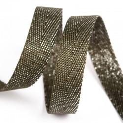 Тесьма киперная люрекс 13 мм Оливковый с серебром
