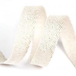 Тесьма киперная люрекс 13 мм Белый с золотом