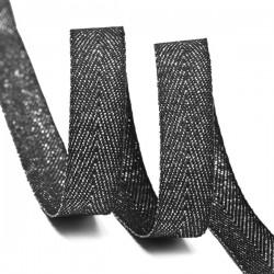 Тесьма киперная люрекс 13 мм Черный с серебром
