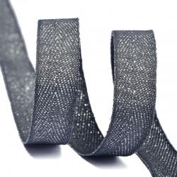 Тесьма киперная люрекс 10 мм Темно-серый с серебром