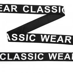 Лента репсовая с надписью CLASSIC WEAR Черный