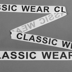 Лента репсовая с надписью CLASSIC WEAR 20 мм Белый