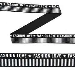 Лента репсовая с надписью FASHION LOVE 25 мм Черный