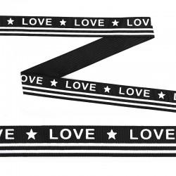 Лента репсовая с надписью *LOVE* 25 мм Черный