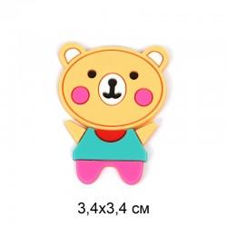 Аппликация пришивная Медвежонок розовый 3,4х3,4см