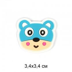 Аппликация пришивная Медвежонок бирюза 3,4х3,4см