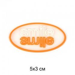Аппликация пришивная SMILE Белый/оранж. овал 5х3см