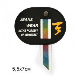 Аппликация пришивная JEANS WEAR 3х3см Овал с подвеской